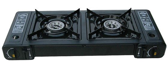 Dual Hob Camping Stove In All Black