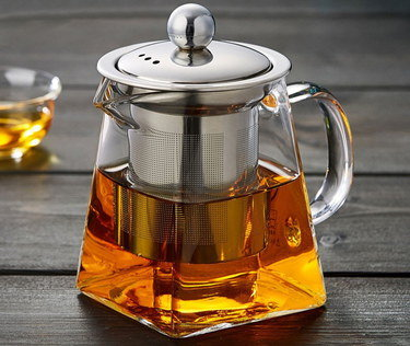 Clear Glass Teapot With Square Glass Base