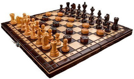 Compact Chess Board Game With Pieces