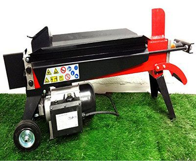 Red Electric Log Splitter On Wheels