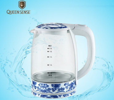 Glass Electric Kettle With Blue Pattern Base