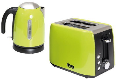 Kettle Toaster Set In Black And Green