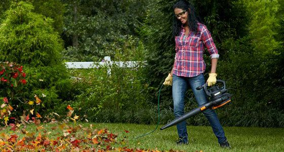 Woman In Garden With Blower And Protection Eyeglasses
