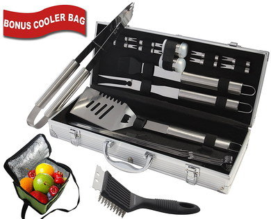 Steel BBQ Equipment Items In Metallic Case
