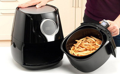 Large Hot Air Chips Fryer In All Black