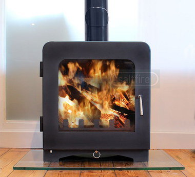 Wood Burning Stove With Black Flue