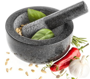 Big Granite Pestle Mortar With Red Pepper