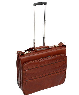 Leather Suit Carrier Bag In Rust Brown