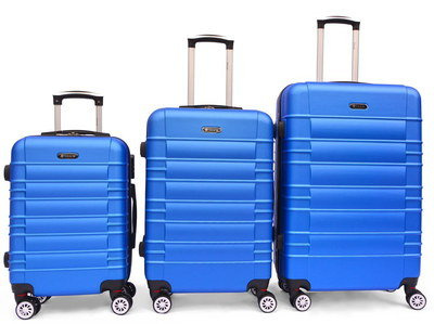 Classy Suitcases On Wheels In Light Blue Exterior