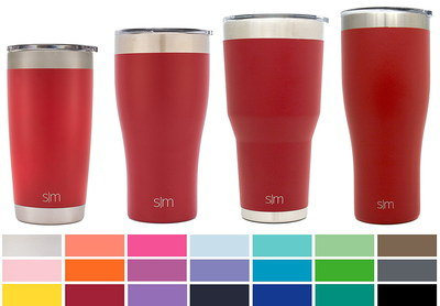 4 Travel Coffee Cups With Bright Red Exterior