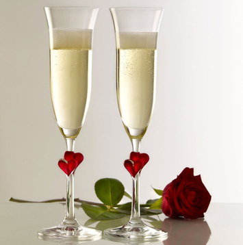 Wedding Champagne Flutes With Red Roses
