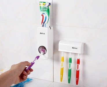 Toothbrush Automated Dispenser On Tiled Wall