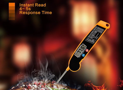 Folding Probe BBQ Food Thermometer In Orange And Black