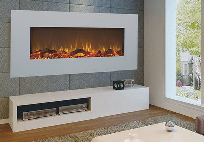 LED Lit Flame Wall Mounted Electric Fire With Red Glow