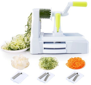 Tri Blade Spiral Vegetable Cutter With Yellow Grip