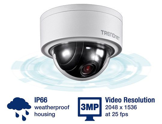 White Motorised PTZ Dome Camera