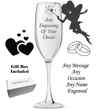 Personalised Wedding Glass With Fairy Figure