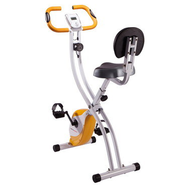Folding Quiet Spin Bike With Black Pedal Straps