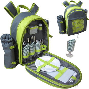 Picnic Rucksack With Wine Cooler And White Plates