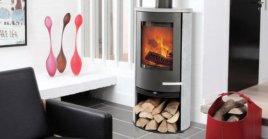 White Contemporary Multi Fuel Stove With Log Storage