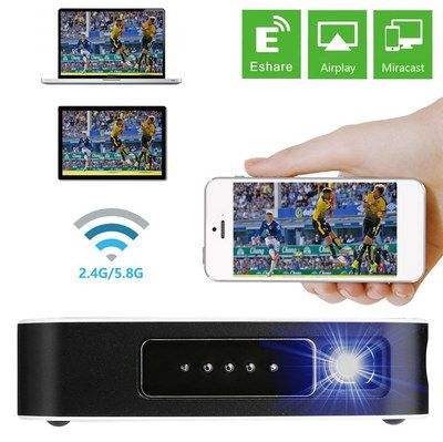 Black Pico Smart Projector With Curved Finish