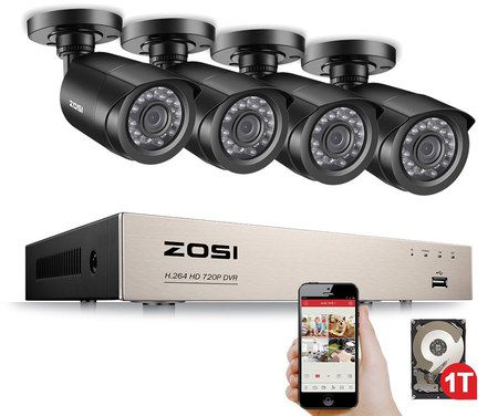 House CCTV Camera With Grey Smartphone