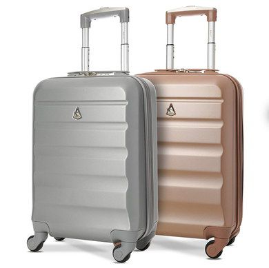 Cabin Hand Luggage Suitcases In Tan And Grey
