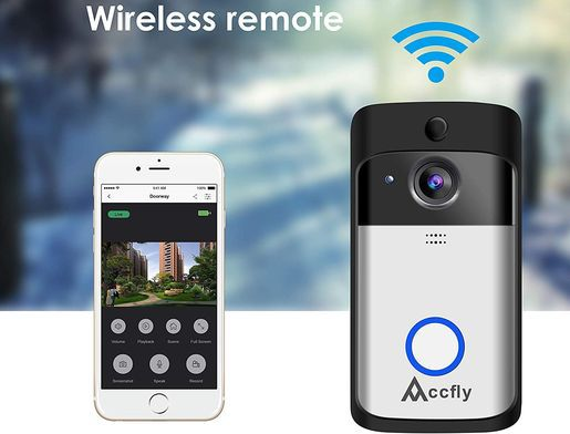 Wireless Video Doorbell With White Phone