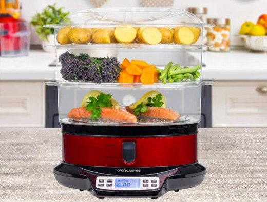 Electric Veggie Steamer With Blue LCD Screen