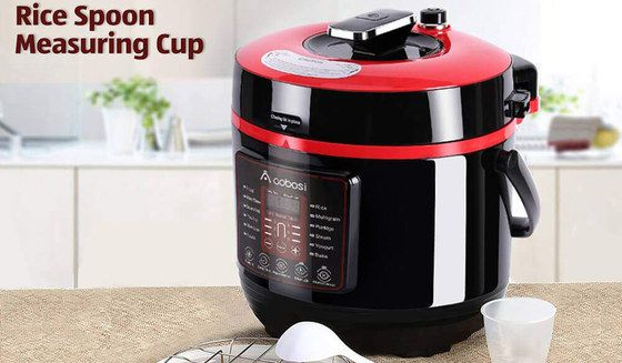 Electric Multi Pressure Cooker In Red And Black