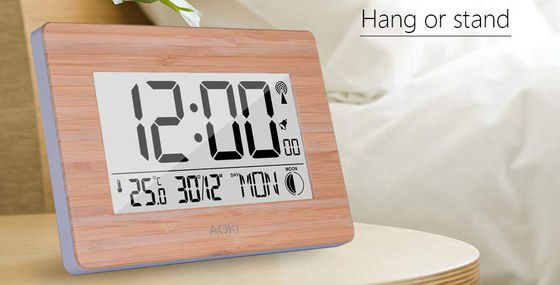 Digital Travel Alarm Clock With Wooden Surround