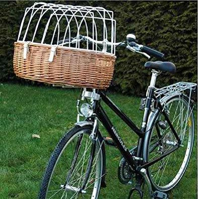 Wicker Dog Bike Basket With White Wiring