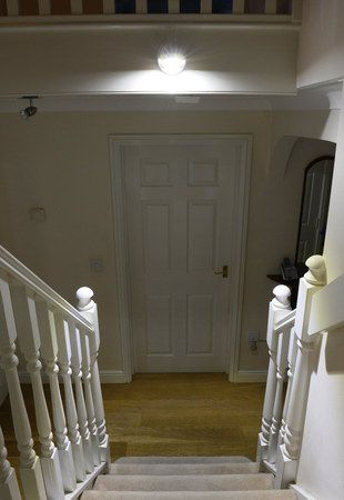 LED Security Light On White Stairwell