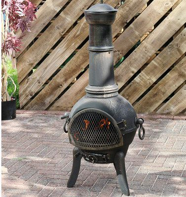 Iron Chiminea In All Black
