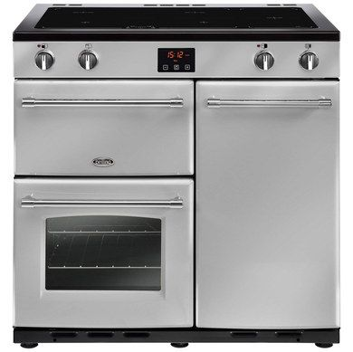 Electric Range Cooker With Silver Hob