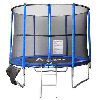 Blue Trampoline With Safety Net