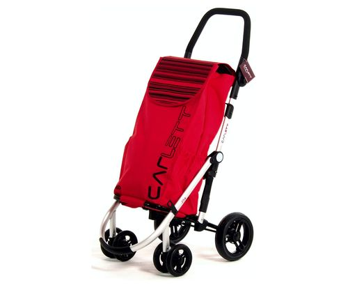 Velvet Folding Shopping Trolley In Red