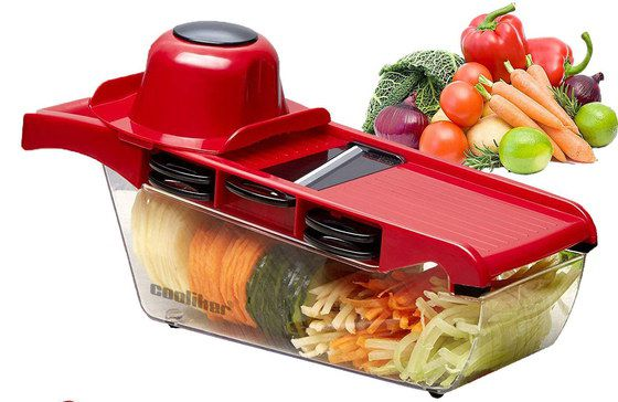 Mandoline Vegetable Slicer In Bright Red