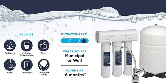 Under Sink Water Filter System With White Tank
