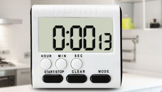 Kitchen Timer In White With Grey LCD