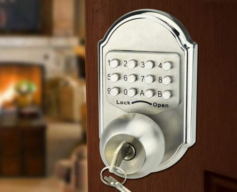 Round Push Button Door Lock With Key Inside