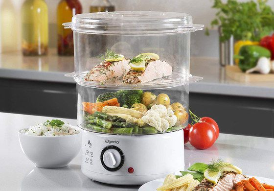Small Food Steamer With White Base