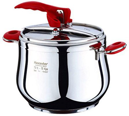 Pressure Cooker With With Red Cover Clamp