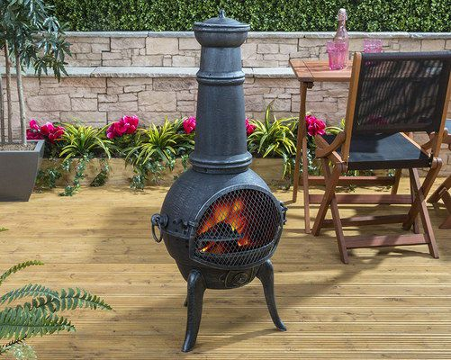 Contemporary Chiminea In Black On Decking