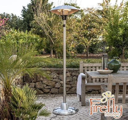 Outdoor Heat Lamp On Round Steel Base