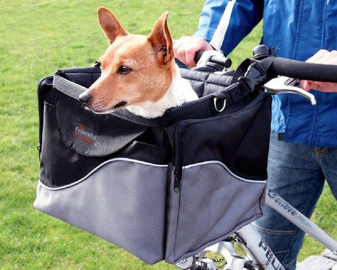 Dog Basket For Bikes In Grey And Black
