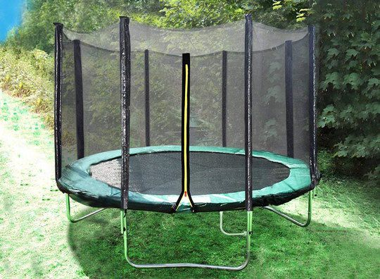 Black Trampoline With Rain Cover On Lawn