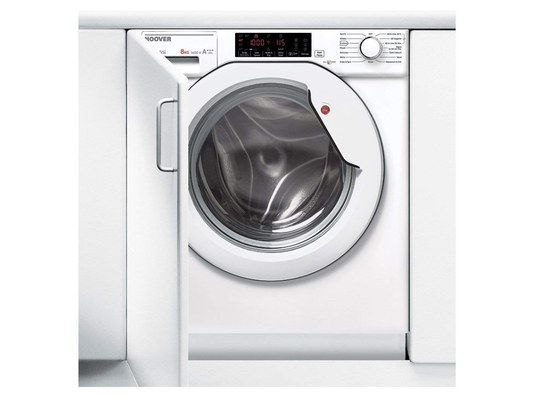 White Integrated Washer With Black Screen