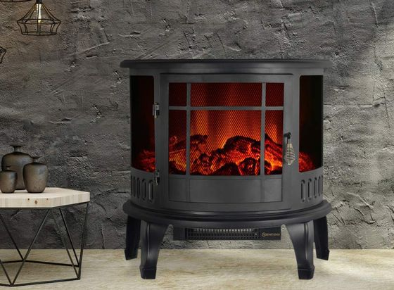 Wood Burner Fireplace In Black Curved Front