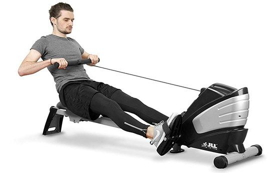 Foldable Rowing Machine With Man Sitting Down